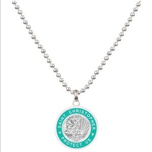 NWT, medium-silver/teal St.Christopher necklace